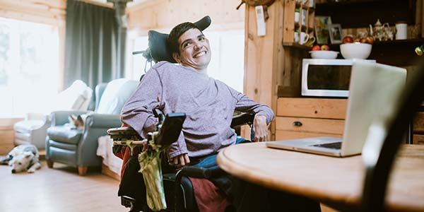 Disabled Young Man in a Wheelchair